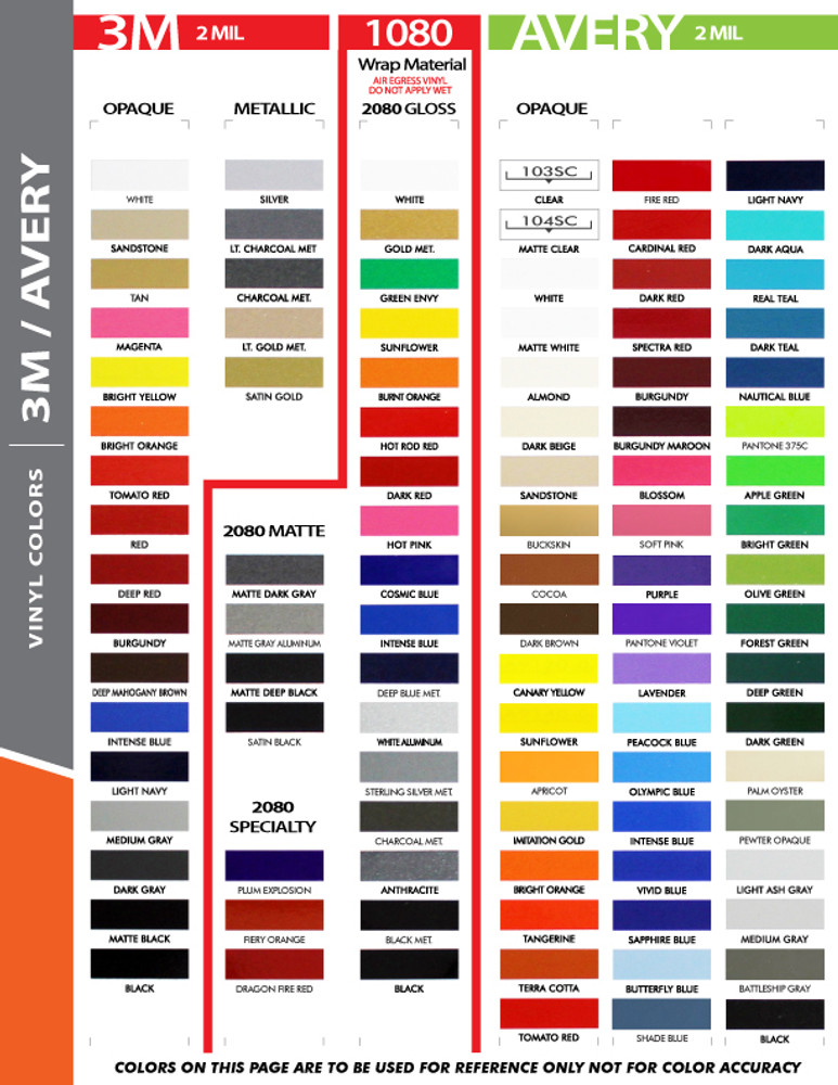 stripeman.com 4 Inch Wide Single Line Single Color Vinyl Stripe Roll Color Chart Page 1