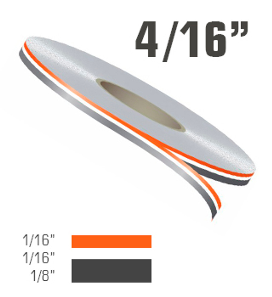 """4/16"""" Two Color Double Line Vinyl Pinstripe Roll"""