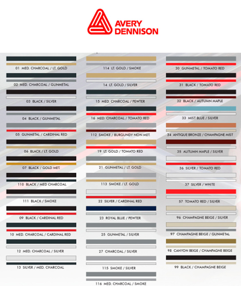 Stripeman.com Avery Two Color Double Line Vinyl Pinstripe Roll Color Chart