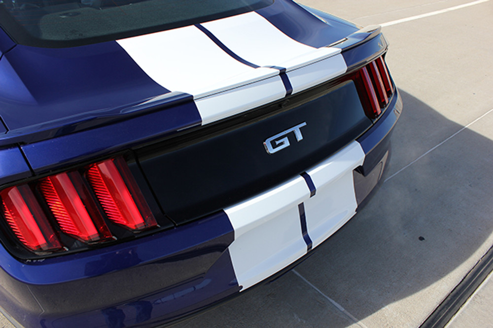 2015-2017 Ford Mustang Stallion Racing Stripes Graphic Kit Back Bumper Close Up
