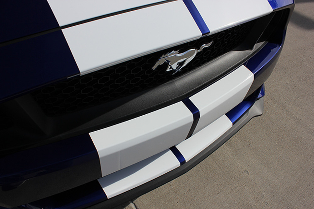 2015-2017 Ford Mustang Stallion Racing Stripes Graphic Kit Front Bumper Close Up