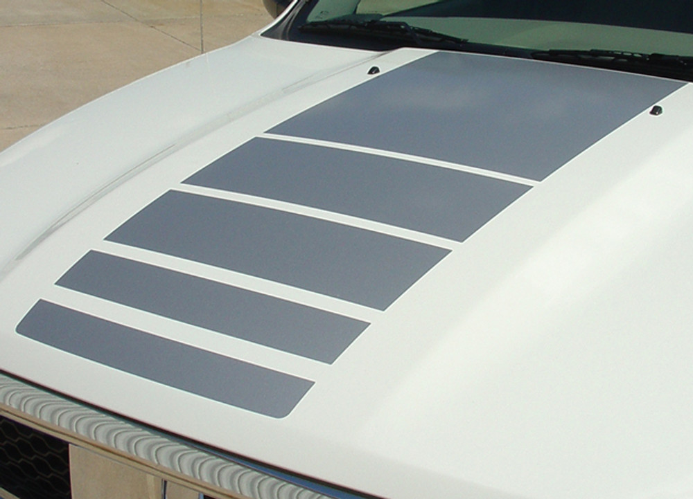 Stripeman.com 2009-2018 Dodge Ram Power Decals Hood and Bed Stripes Vinyl Graphics Kit Hood Close Up View