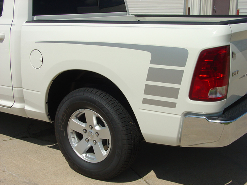 Stripeman.com 2009-2018 Dodge Ram Power Decals Hood and Bed Stripes Vinyl Graphics Kit Bed Side Close Up View