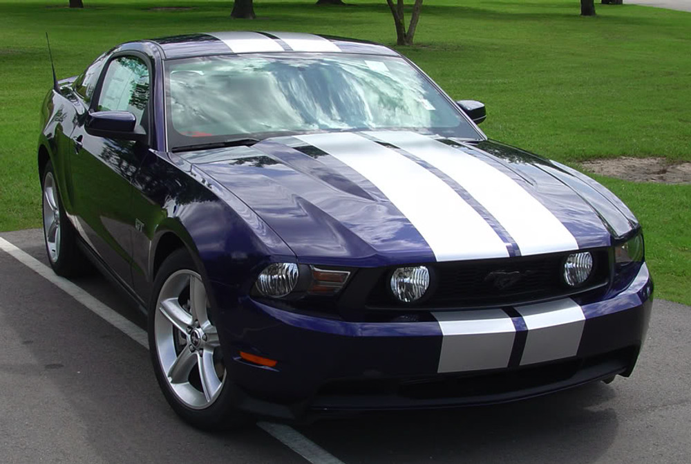 Stampede 2 Racing Stripes for 2010, 2011, 2012 Ford Mustang Front View