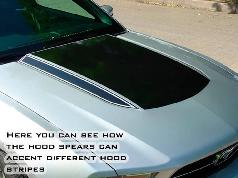 Ford Mustang Dominator Hood Spears Graphic Kit Shown w/Center Hood Stripe