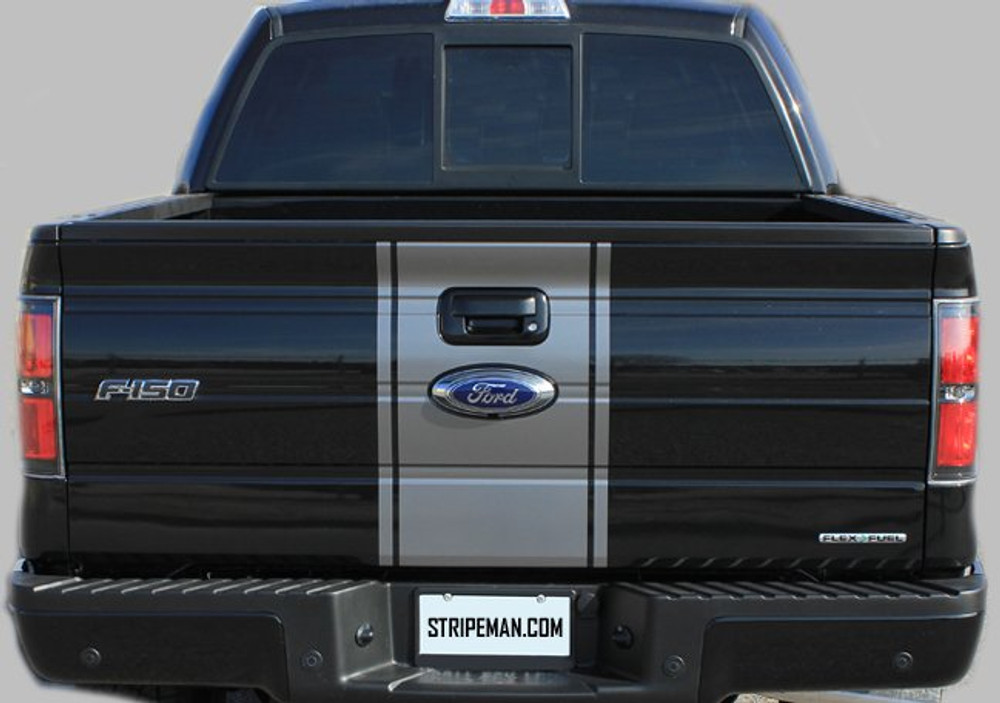 2009 2010 2011 2012 2013 2014 2015 2016 2017 Ford F-150 Center Vinyl Racing Stripes Graphic Kit Tailgate Full View
