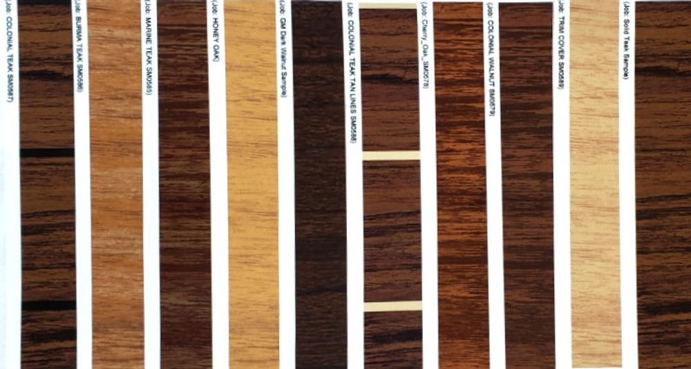 stripeman.com Woodgrain Sample Kit with color names