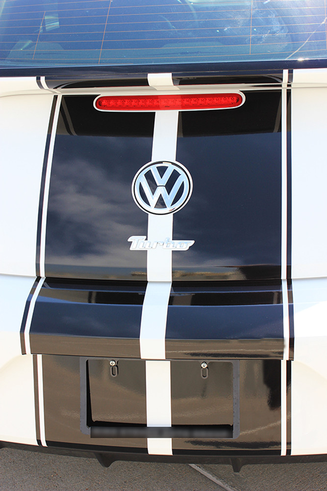 stripeman.com 2012-2019 Volkswagen Beetle Rally Stripe Kit Rear Close Up View