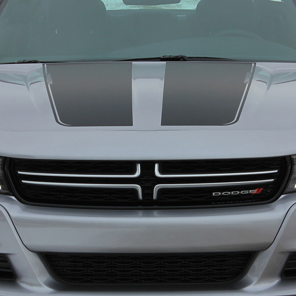 stripeman.com 2015-2019 Dodge Charger Recharge Graphic Kit Hood View Close Up