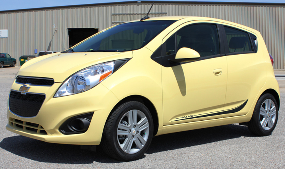 Chevy Spark Arc Vinyl Side Stripes Graphic Kit Diagonal View