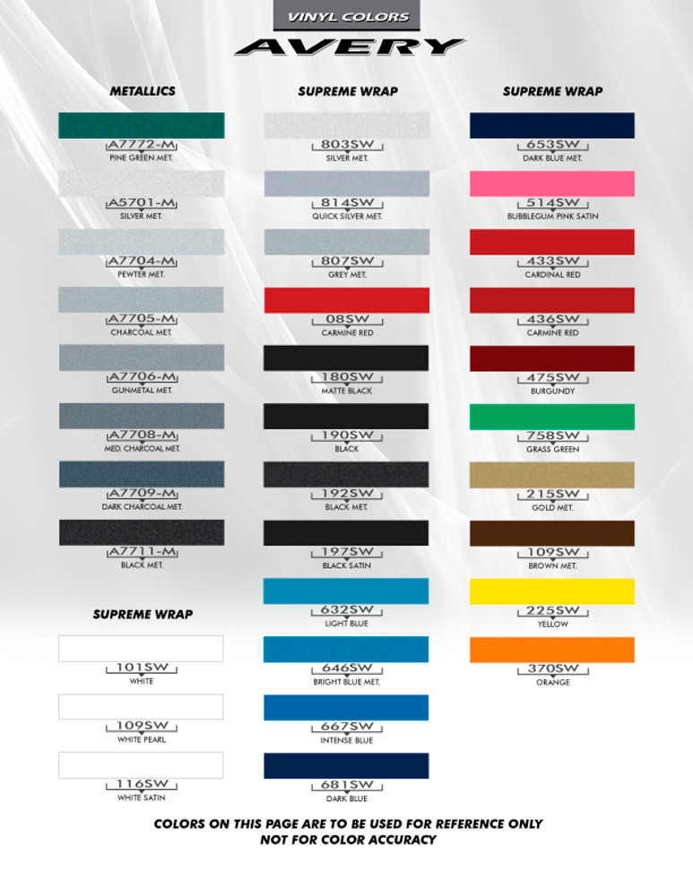 Avery Pinstripes Stripes & Graphics Color Chart
