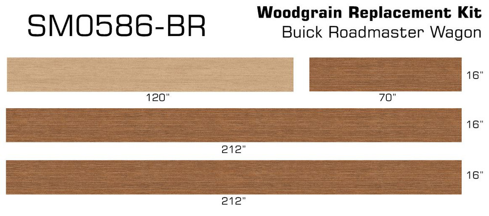 91-96 Buick Roadmaster Wagon Burma Teak Digital Reproduction Wood Grain Vinyl Replacement Kit