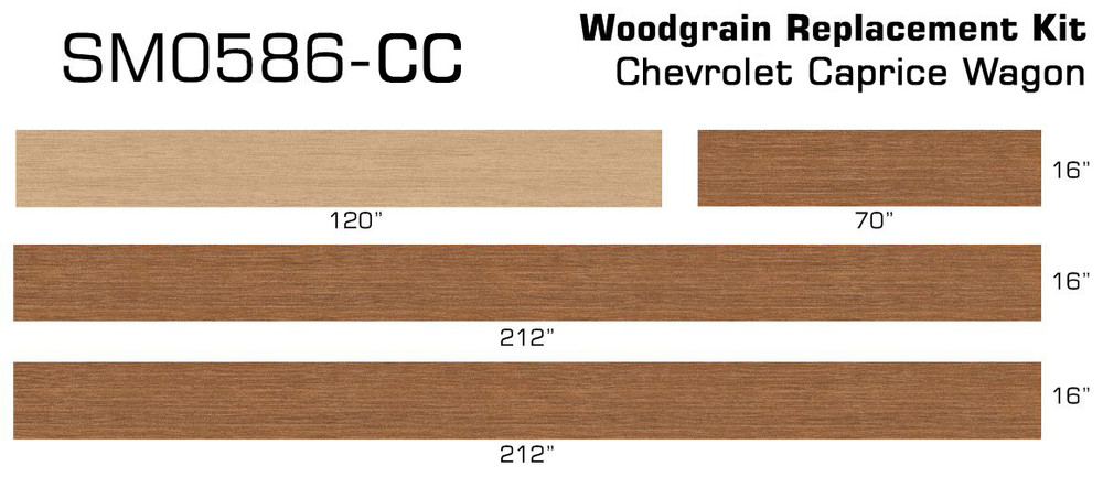91-96 Chevrolet Caprice Wagon Burma Teak Digital Reproduction Wood Grain Replacement Kit Measurememts by stripeman.com
