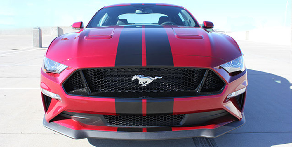 Stripeman.com  2018 Mustang Stage Rally Stripe Graphic Kit front view