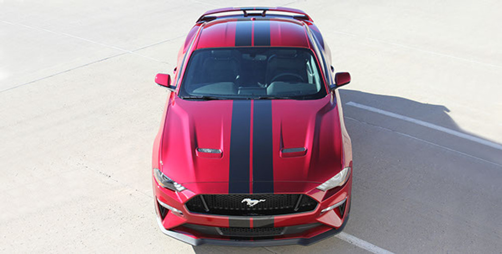 Stripeman.com  2018 Mustang Stage Rally Stripe Graphic Kit overhead view