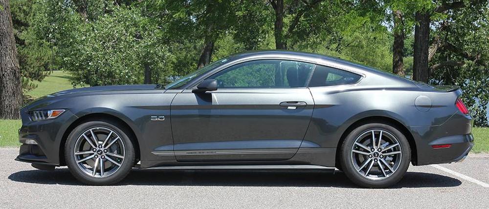 2015-2019 Ford Mustang Faded Triline Rocker Stripe Kit Side View