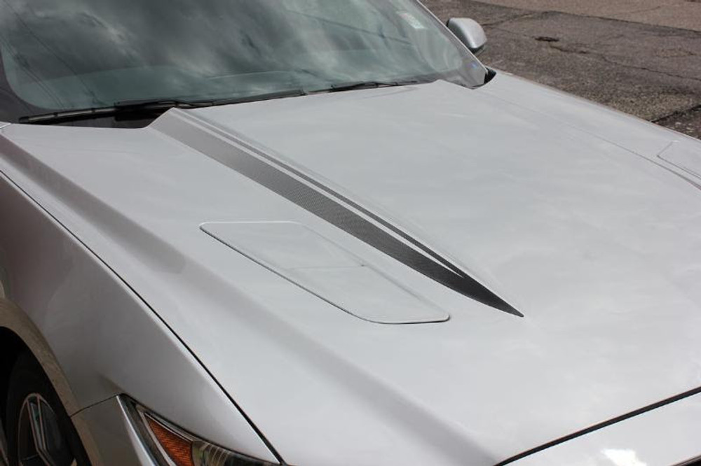 2015-2017 Ford Mustang Faded Hood Spears Graphic Kit Front Passenger Side View