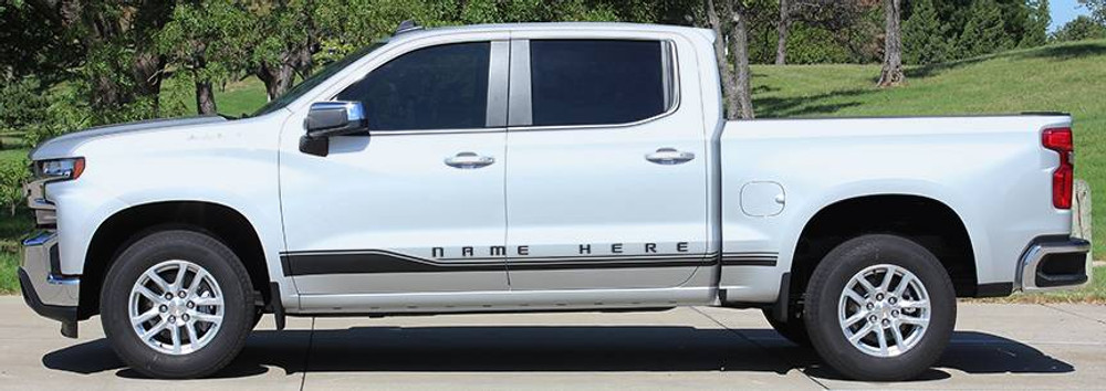 2019 Chevy Silverado Rocker 1 Stripe Kit Side View