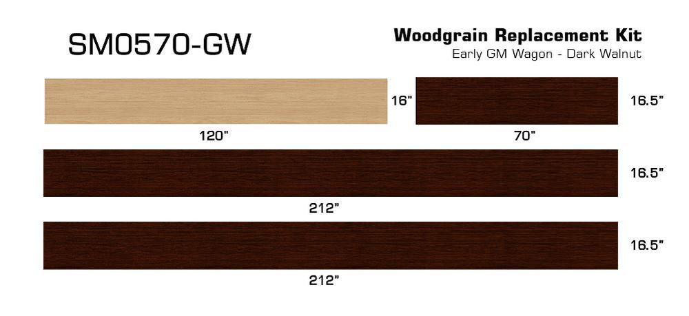 Early GM Dark Walnut Digital Reproduction Wood Grain Vinyl Replacement Kit