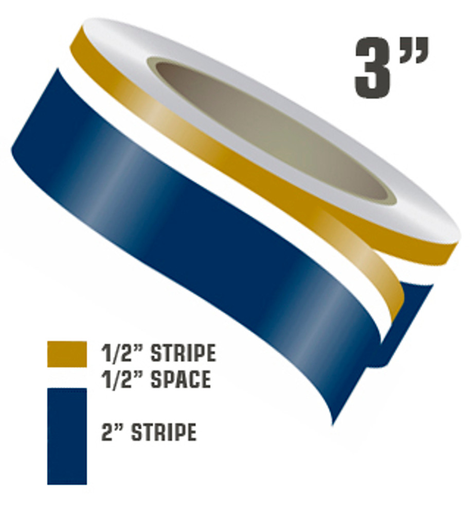 stripeman.com 3 Inch Wide Two Color Boat Stripe - Boot Stripe - Paint Break Stripe Stripe Configuration