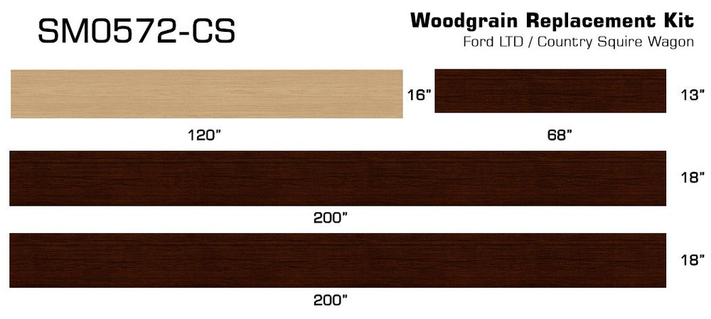 Sizes for Ford Country Squire Woodgrain Film.
