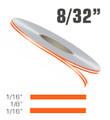 "8/32"" x 150' Double Line Single Color Vinyl Pinstripe Roll Configuration"