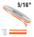 "5/16"" x 150' Double Line Single Color Vinyl Pinstripe Roll Configuration"