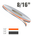 """8/16"""" Two Color Double Line Vinyl Pinstripe Roll"""