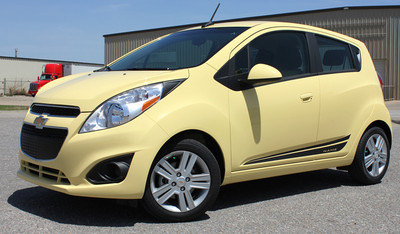 www.stripeman.com Chevy Spark Flash Vinyl Side Stripes Graphic Kit Diagonal View