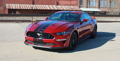 Stripeman.com  2018 Mustang Stage Rally Stripe Graphic Kit front corner view