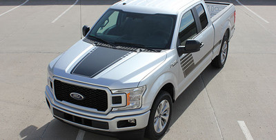 Stripeman.com Speedway Hood Graphic Kit for Ford F-150 overhead view.