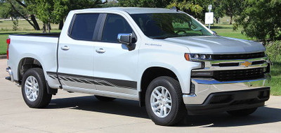 2019 and Chevy Silverado Rocker 2 Graphic Kit Angled Side View