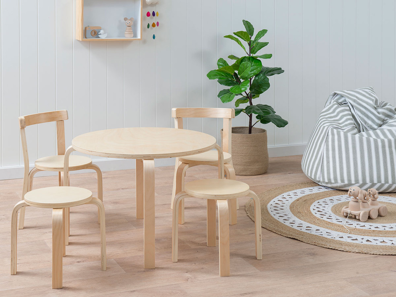 Hudson Kids Table And Chairs Set Natural Mocka Australia