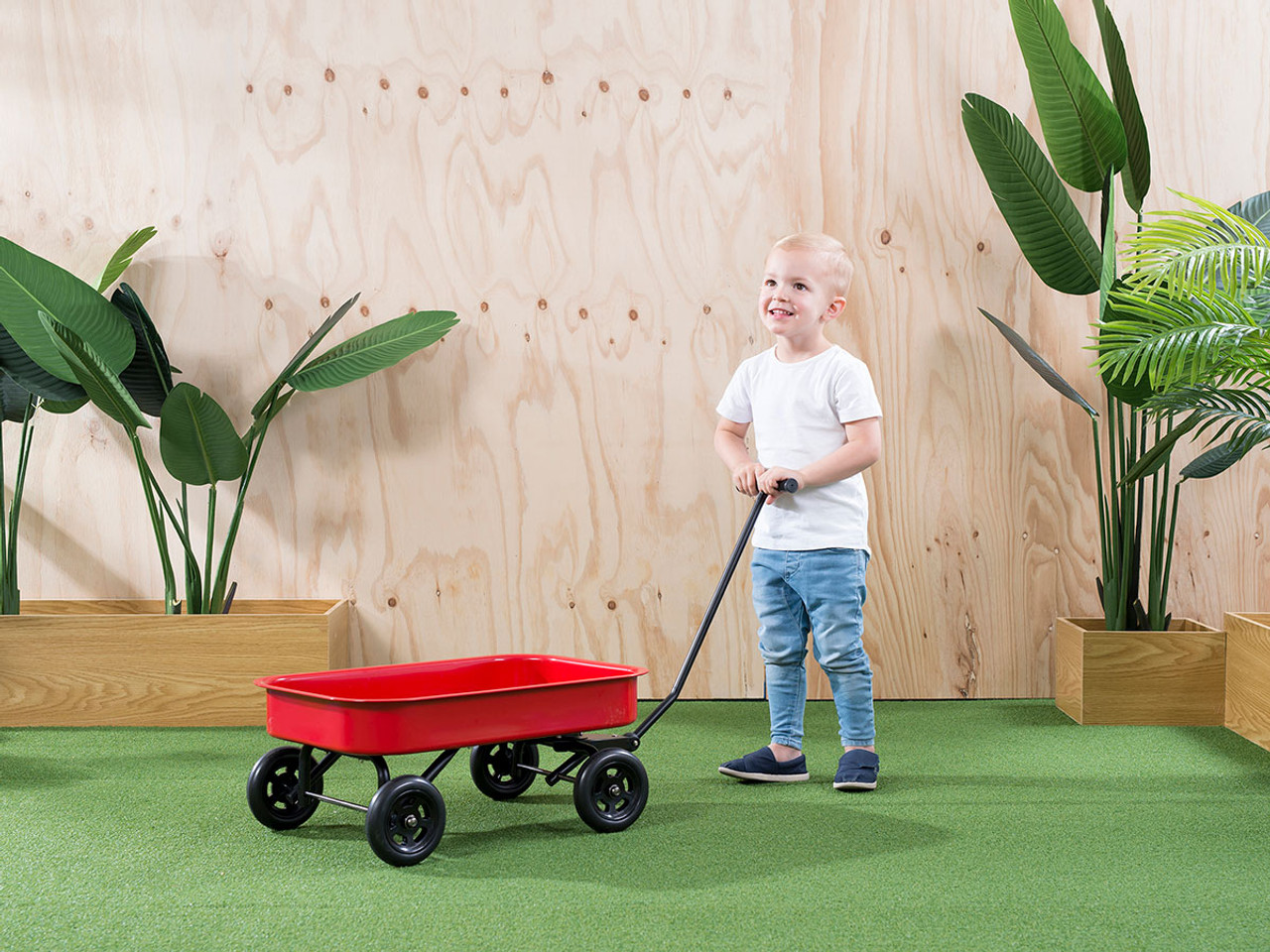 Mocka Kids Steel Wagon Red Outdoor Toys