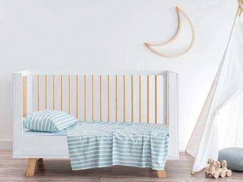 Stripe Blue Cotton Sheet Set - Cot