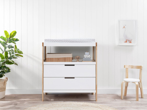 Aspiring Change Table with Drawers - White/Natural