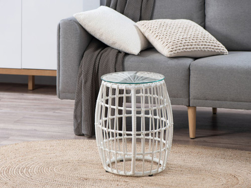 Rattan Look Side Table - White