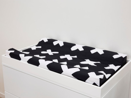 Mocka Change Mat Cover - Monochrome Cross