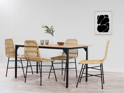 Rattan Look Dining Chair - Set of 2
