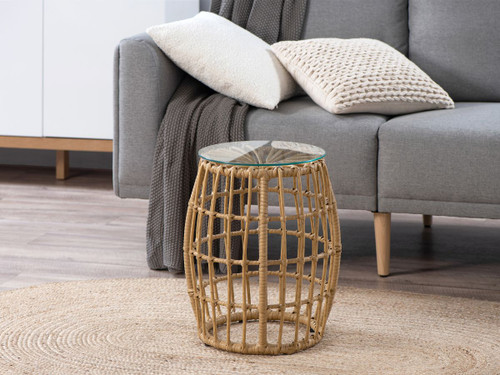 Rattan Look Side Table - Natural