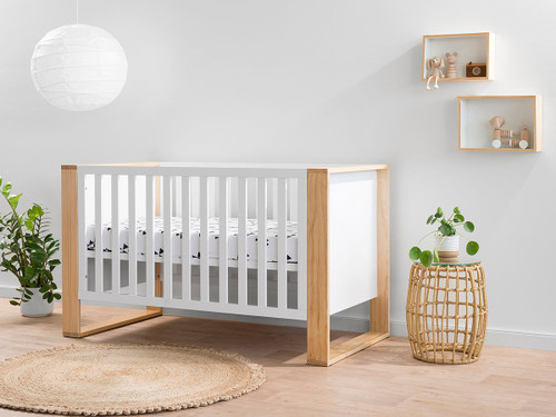 Boston Cot - White/Natural