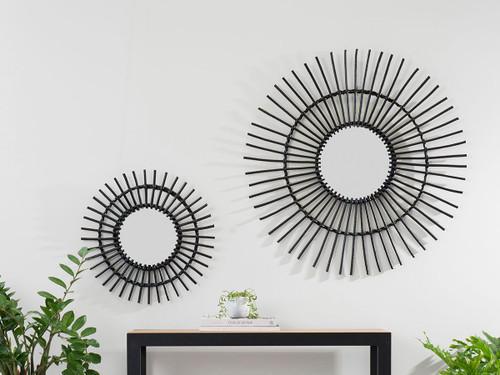 Wicker Mirror - Large - Black