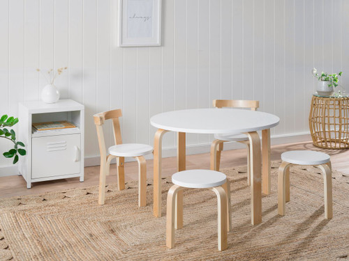 Hudson Kids Table and Chairs Set - White/Natural