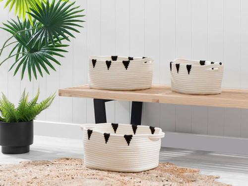 Ellana Oval Baskets - Set of 3 - White/Black