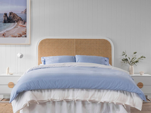 Southport Queen Rattan Bedhead - White