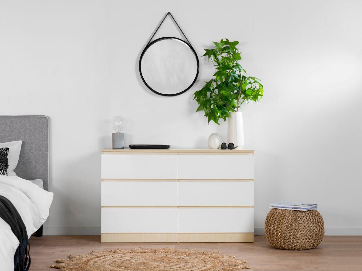 Jolt Six Drawer - Wide - Natural / White