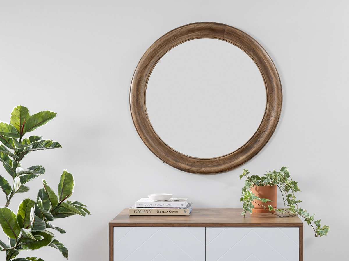 Nevada Wood Round Mirror