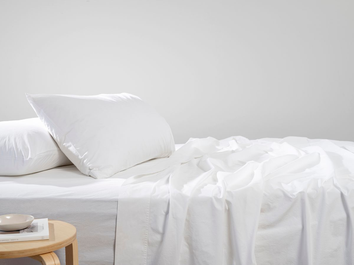 Mocka White Stone Washed Sheet Set - Queen