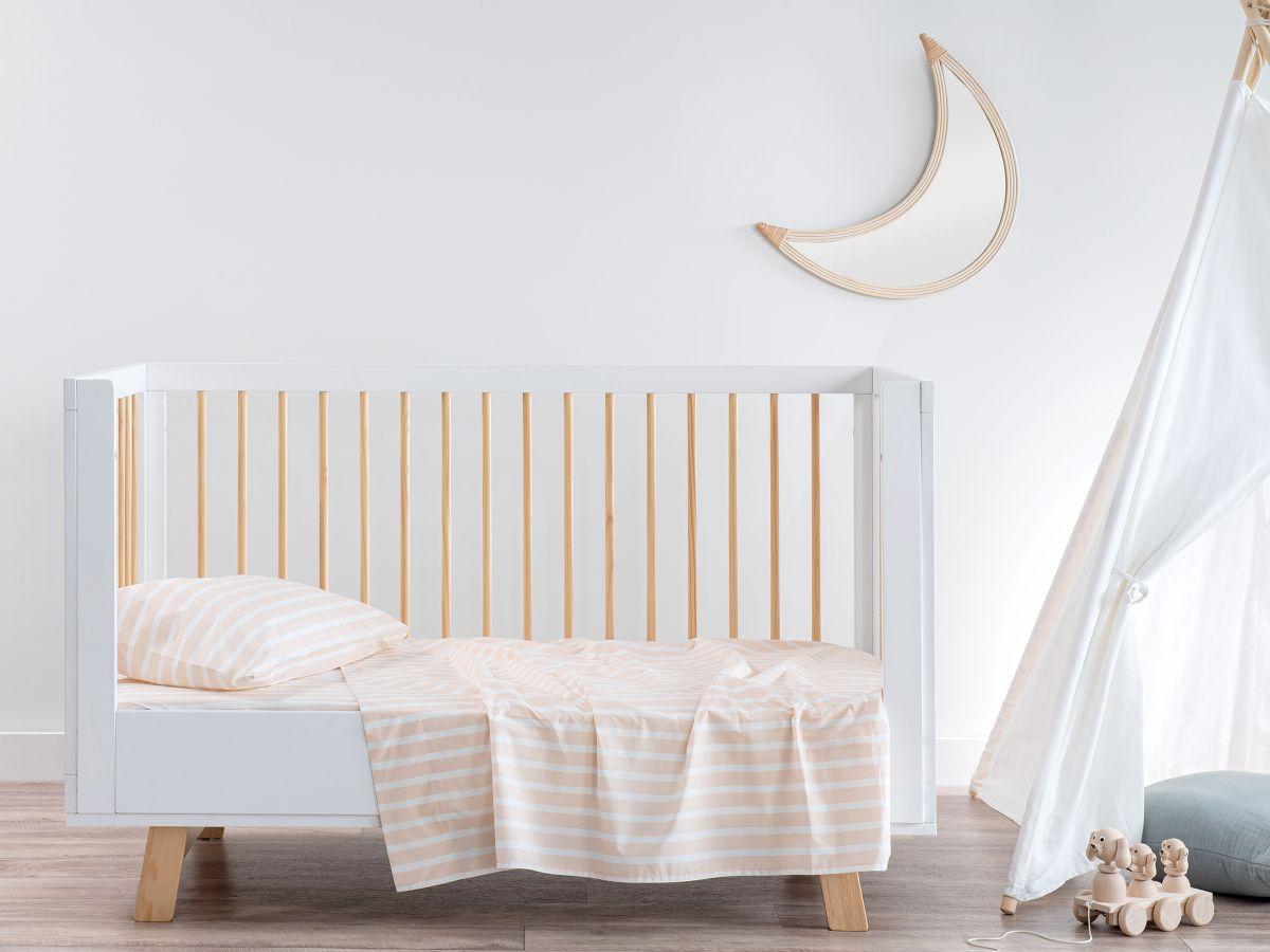 Stripe Peach Cotton Sheet Set - Cot