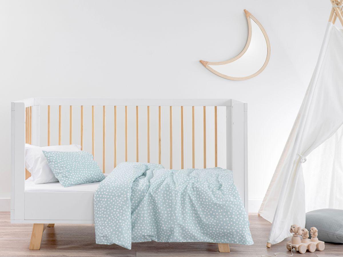 Spot Blue Cotton Quilt Cover Set - Cot